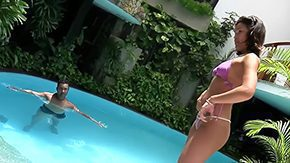 Jennifer Love, Bikini, Blowjob, Brazil, Brunette, Cameltoe