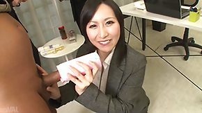 Japanese, Brunette, Handjob, Japanese, MILF, Office