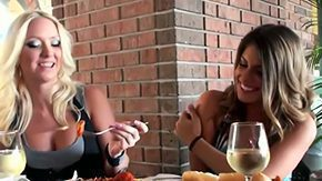 Free Italian BBW HD porn videos Blonde girl Molly Cavalli her brunette girlfriend Nikkie Jock are mid Italian restaurant having dinner only one time lesbian