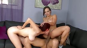 Lily Love, 3some, Ball Licking, Blowbang, Blowjob, Brunette
