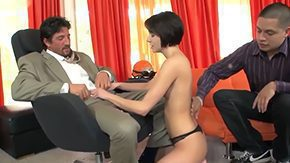 Daddy, 3some, Ball Licking, Banging, Blowjob, Brunette