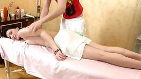 Oil Massage, Boobs, Brunette, Flat Chested, Massage, Masseuse