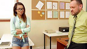 Alina Li, Blowjob, Brunette, Classroom, Glasses, Hardcore
