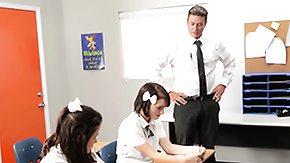 Schoolgirls, 3some, Blowjob, Brunette, Coed, College