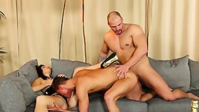 Threesome, Bisexual, Blowjob, Brunette, Hardcore, Lick