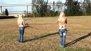 HD Noelle Aurelia tube Chicks in constricted fitting jeans little tops Molly Cavalli Noelle Aurelia are playing with equipment plane outdoors They open some of best forms of theirs