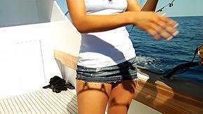 Sailor, Beach, Bikini, Boat, Brunette, Cumshot