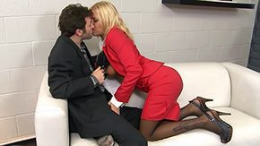 James Deen, Aunt, Blonde, Blowjob, Boots, Business Woman