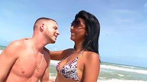 Beach Sex, Babe, Beach, Blowjob, Boobs, Brunette