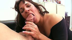 Spanish, Aunt, Ball Licking, Blowjob, Choking, Cougar