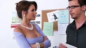 Office Stockings, American, Babe, Beauty, Big Tits, Blowjob