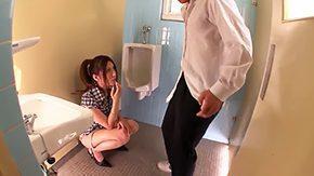 Toilet, Asian, Ass, Babe, Blowjob, Brunette