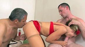 HD Athena Angel Sex Tube Sexy bombshell Athena Angel is giving double blowjob to father son during hardcore threesome sex