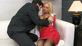 Office Stockings, Aunt, Blonde, Blowjob, Boots, Business Woman