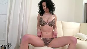 Free German HD porn Wavy haired Miley Smiley takes off her clothes amazes with big boobs  unmanly male before masturbation