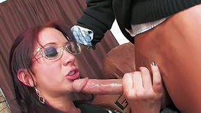 Glasses, Ball Licking, Blowjob, Choking, Deepthroat, Double
