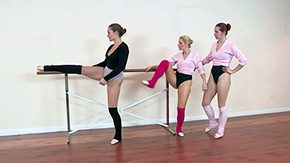 Free Ballet HD porn videos Pair of things gark-haired fair birds Dani Daniels Ashley Fires Melody Jordan comprehend more their afternoon classification gym doing some ballet poses stretching at large on floor