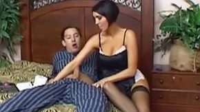 Mother, Aunt, Bed, Big Tits, Black, Blowjob