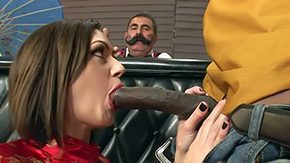 HD Mustache Sex Tube Distinguished ebon bull Sean Michaels dressed as cowboy gets his hugely big mammal cock sucked good by brunette hair Sarah Shevon while bartender with reference to mustache is