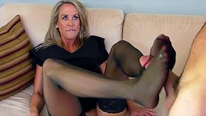 Footjob, American, Aunt, Big Tits, Blonde, Blue Eyes