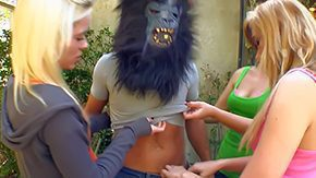 Rebecca Young, Banging, Blonde, Blowjob, Costume, Group