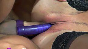 Double Strapon, Dildo, Double, Double Penetration, High Definition, Kissing