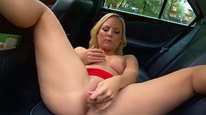 Blonde In Car, Babe, Banana, Big Cock, Big Pussy, Big Tits