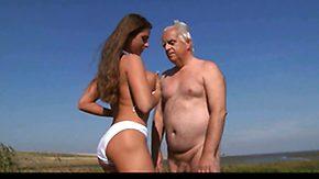 Oldman, Aged, Babe, Beach, Beach Sex, Big Tits