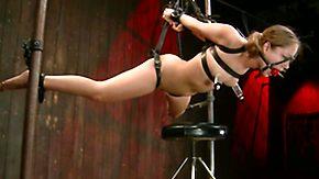 Leather, Ball Licking, BDSM, Bondage, Bound, Brunette