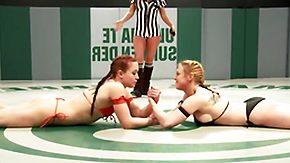 Wrestling, Blonde, Brunette, Doggystyle, Fight, Fingering