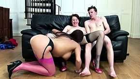 Stocking Threesome, 3some, Aunt, Brunette, Fucking, Granny Orgy