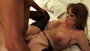 Cougar Stockings, Big Tits, Blowjob, Boobs, Brunette, Cougar