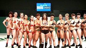 Wrestling, Bikini, Brunette, Dominatrix, Femdom, Fight