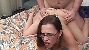 Glasses, Brunette, Cum, Cum Covered, Cumshot, Doggystyle