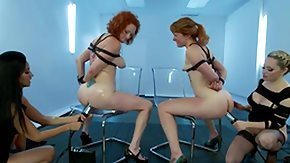 Lezdom, 4some, BDSM, Blonde, Bound, Brunette