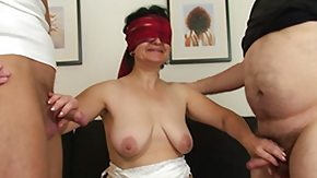 Granny, Blindfolded, Blowjob, Brunette, Dildo, Experienced