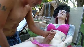 Free Brittany St. Jordan HD porn videos Redhead trannie Brittany St Jordan with her pale body covered centrally located tattoos takes possession sexy handjob session outoor gives her young butch nice oral satisfaction centrally located