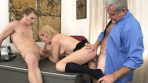 Free Son's Friend HD porn Naughty golden-haired girlfriend sucks and fucks father and son companionably