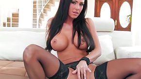 Free Jessica Sweet HD porn Long-haired tanned brunette Jessica Jaymes with massive knockers at intervals string hose high heels teases enjoys caressing her sweet baldheaded fish lips at intervals