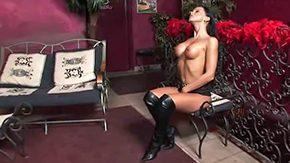 Big Tits Masturbation, Big Tits, Boobs, Boots, Brunette, Dildo