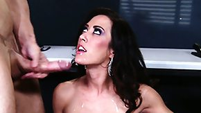 Silicone Tits, Big Tits, Blowjob, Boobs, Brunette, Cum Covered