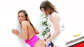 Teena, Babe, Brunette, Dildo, Lesbian, Lesbian Strapon