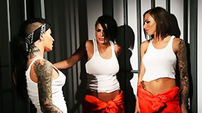 Prison, 3some, Big Tits, Boobs, Brunette, Group
