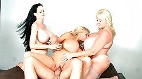 Two Big Cocks, Big Cock, Big Tits, Blonde, Blowjob, Boobs